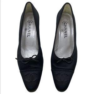 CHANEL Vintage Black Satin Kitten Heels
